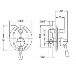 Встроенный смеситель с переключателем Magliezza Vista 50148-cr (хром)
