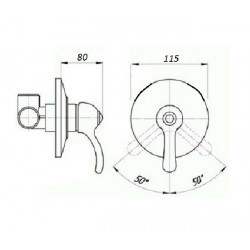 Встроенный смеситель для душа Magliezza Vista 50135-cr (хром)
