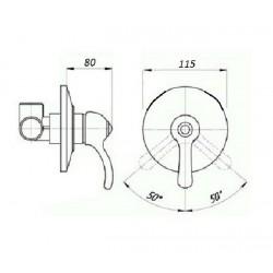 Встроенный смеситель для душа Magliezza Vista 50135-br (бронза)