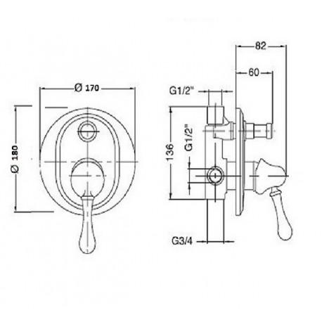 Встроенный смеситель с переключателем Magliezza Collana 50146-br (бронза)