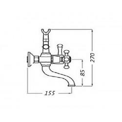 Смеситель на ванну Magliezza Bianco 50105-3-do в комплекте с лейкой TL-3-do (золото)