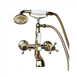 Смеситель на ванну Magliezza Classico 50106-3-do в комплекте с лейкой TL-3-do (золото)