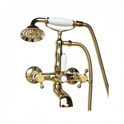 Смеситель на ванну Magliezza Classico 50106-4-do в комплекте с лейкой TL-4-do (золото)