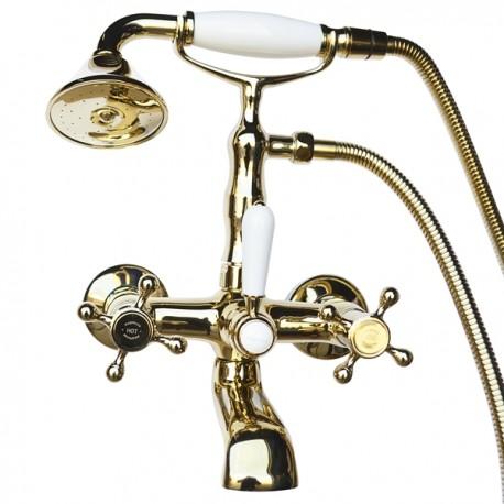 Смеситель на ванну Magliezza Classico 50106-2-do в комплекте с лейкой TL-2-do (золото)