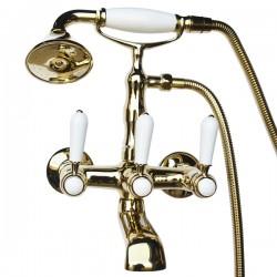 Смеситель на ванну Magliezza Bianco 50105-2-do в комплекте с лейкой TL-2-do (золото)