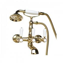 Смеситель на ванну Magliezza Bianco 50105-4-do в комплекте с лейкой TL-4-do (золото)