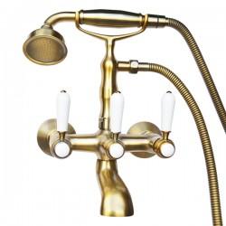 Смеситель на ванну Magliezza Bianco 50105-1-br в комплекте с лейкой TL-1-br (бронза)