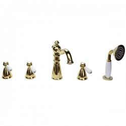Смеситель на борт ванны Magliezza Grosso Bianco 50119-3-do с ручным выдвижным душем TL-3-do (золото)