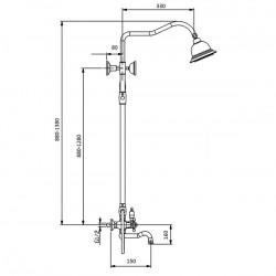 Душевая система с изливом Magliezza Bianco 1302-do (золото)