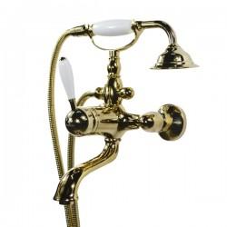 Смеситель на ванну Magliezza Bianco 50603-do в комплекте с лейкой TL-4-do (золото)