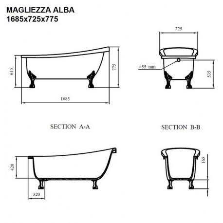 Ванна на лапах Magliezza Alba (168,5х72,5), ножки бронза