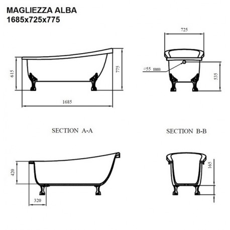 Ванна на лапах Magliezza Alba (168,5х72,5), ножки хром