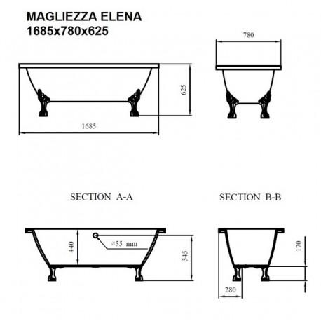 Ванна на лапах Magliezza Elena (168,5х78), ножки бронза