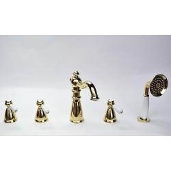 Смеситель на борт ванны Magliezza Grosso Bianco 50119-4-do с ручным выдвижным душем TL-4-do (золото)